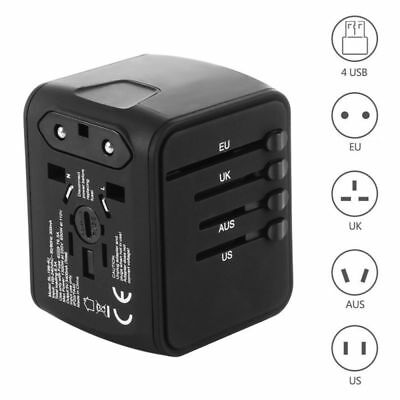 4 USB Charger Universal International Power Adapter Travel Plug Socket Converter