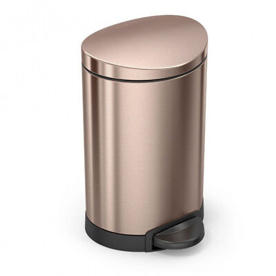 NEW Simplehuman Rose Gold Steel Semi-Round Step Can 6L