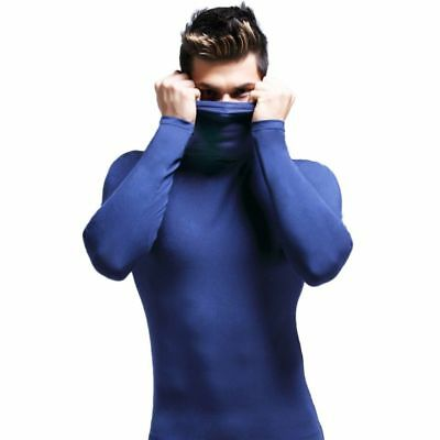 US Fashion Men's Slim Fit Turtleneck Long Sleeve Muscle Tee T-shirt Casual Tops