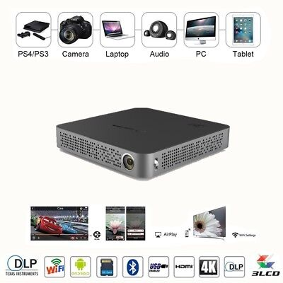 5500 Lumens Mini Portable DLP 4K 1080P Projector LED Bluetooth Home Theater HDMI