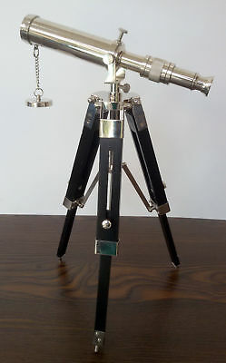 Marine Navy Nautical Brass Telescope Double Barrel with Floor Tripod Stand Gift.