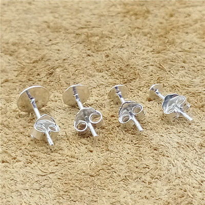 1 Pairs Sterling Silver Post Earrings Flat Back 3mm 4mm 5mm 6mm 925 Silver Stud