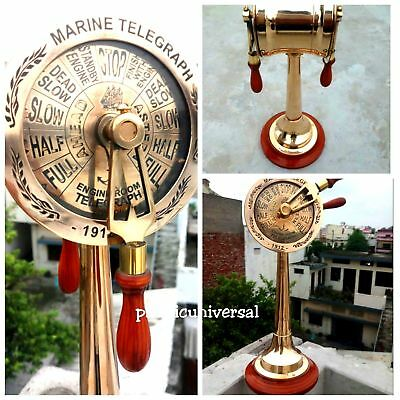 Solid Brass Ship Engine Room Telegraph Wooden Base Collectibles Desk Decoration