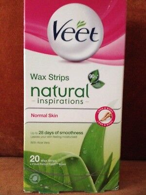 1x 18 Veet Natural Inspirations Wax Strips Legs & Body Normal Skin 18 Strips