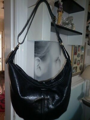 The Bridge Vintage Very Large Black Italian Leather Hobo Chic Shoulder Bag