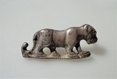 Roman Silver Zoomorphic Fibula/Brooch with Depiction of Lioness.INTACT.
