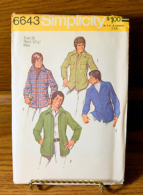 Simplicity 6643 Mens Jacket Size 36 Neck 14 1/2 Sewing Pattern 1974