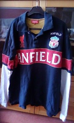 Official Liverpool FC Football Club Long Sleeve Rugby Shirt Size XXL 2XL