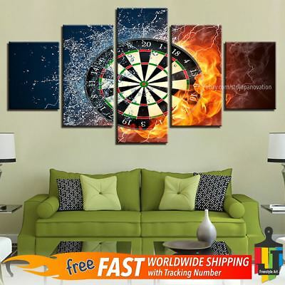 5 Pieces Home Decor Canvas Print Game Wall Art Abstract Darts Fire Water Poster