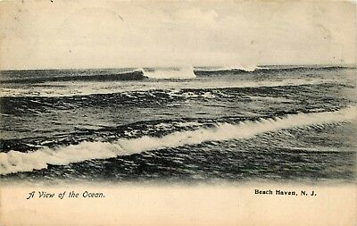 1907 New Jersey Photo Postcard: A View Of The Ocean, Beach Haven, Nj