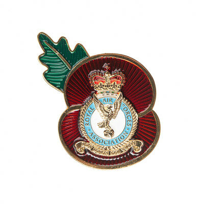RAF Royal Air Force Remembrance Day NEW Crest Poppy Pin