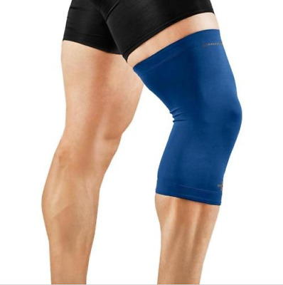 Original Tommie Copper Mens Blue Compression Recovery Non-Slip Knee Sleeve M