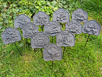 Cast Iron Metal Vegetable Garden Plant Marker Sign Set/12 Stake Yard Home Decor