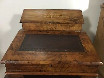 Antique victorian burr Walnut Inlaid Table Top Writing desk