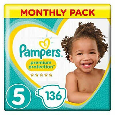 Pampers Premium Protection Size 5, 136 Nappies, 11-23 kg, Monthly Pack