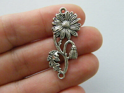 SC1101 6 Heart Connector Charms Antique Silver Tone Flower Abstract Design