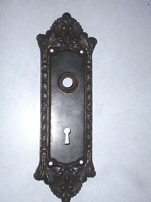 Antique Cast Iron Ornate Door Knob Back Plate Russwin CHATHAM 7935  Victorian