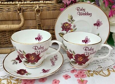 FENTON 1950s CUP & SAUCER SET x2 RED ROSE RUBY WEDDING 40 YRS GILDED BONE CHINA