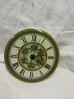 Wall Clock With Floral Design  Made By Jersey Pottery  Quartz Batterry Movement