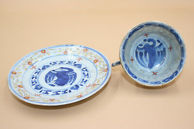 Antique Chinese Porcelain Blue White w/ Hand Painted Cup & Plate Set - Marks #2
