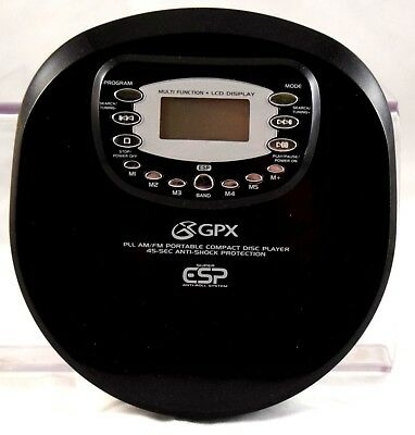 GPX portable CD player with FM AM Radio C4051 Black Tested