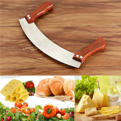 Pizza Cutter Sharp Rocker Blade Slicer Stainless Steel Mezzaluna Chopper N7