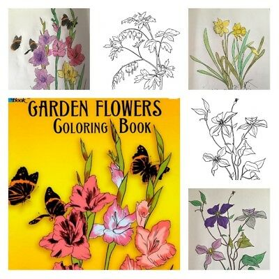 Adult Coloring Books For Kids Art Color Relaxation Dover Garden Flowers Designs