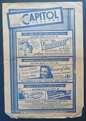 1946 Dover Delaware Capitol Theatre Movie Theatre 4 Page Flyer Smyrna Middletown