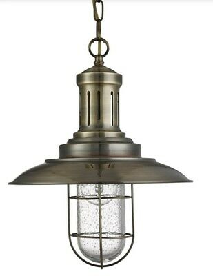 Searchlight Superb Quality Fisherman Antique Brass Ceiling Light With Caged Shad