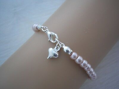 Dainty Little Pearl Bracelet with Tiny Love Heart Charm Ladies Flower Girls 10FH