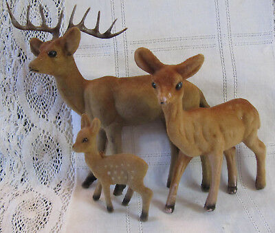 3 Vtg Flocked Christmas Reindeer Deer Family plastic lot