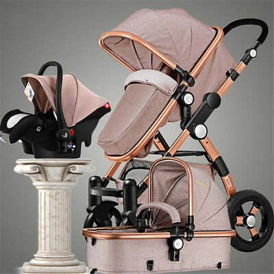 3 in 1 Luxury Foldable Baby Stroller High View Pram Pushchair Bassinet Car Seat