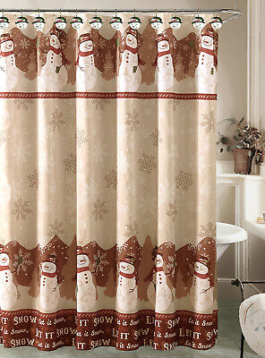 Holiday Snowman Shower Curtain with 12 Resin Shower Hook Rings Bathroom Set