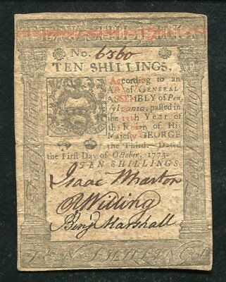 PA-167 OCTOBER 1, 1773 10s TEN SHILLINGS PENNSYLVANIA COLONIAL CURRENCY NOTE