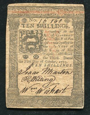 PA-167 OCTOBER 1, 1773 10s TEN SHILLINGS PENNSYLVANIA COLONIAL CURRENCY NOTE (B)