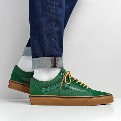 4b0a4db410b Vans Men s New Old Skool Suede Canvas Shoes Boot Laces Eden Green Gum  Outsole