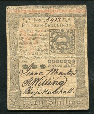 PA-168 OCTOBER 1, 1773 15s FIFTEEN SHILLINGS PENNSYLVANIA COLONIAL CURRENCY (B)