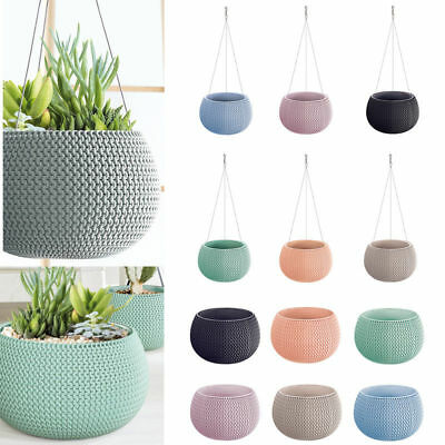 Pastel Lovely Design Hanging Flower Pot Planter-Home Office-Woven Knit Effect