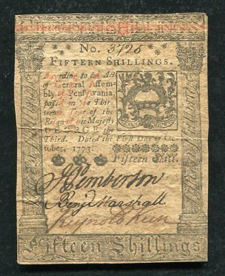 PA-168 OCTOBER 1, 1773 15s FIFTEEN SHILLINGS PENNSYLVANIA COLONIAL CURRENCY (C)