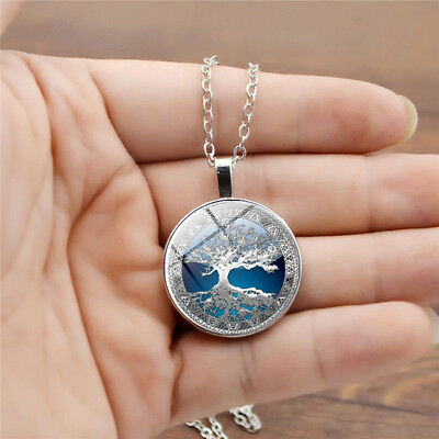 Tree of Life Glass Pendant Spherical Ball Shiny Rhinestone Necklace Gift N7