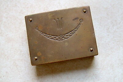 "Vintage Brass ""GES. GESCH"" Three-Slot Stamp Box; Very Nice, ""As-Found"" Condition"