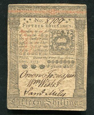 PA-168 OCTOBER 1, 1773 15s FIFTEEN SHILLINGS PENNSYLVANIA COLONIAL CURRENCY (D)