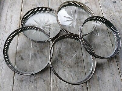 """Set of5 Vintage Sterling Silver and Starburst Cut Glass Coasters w/ Holder 3"""""""