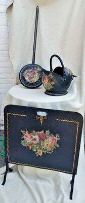 Antique French Set Fireplace screen Bed pot coal scuttle hand painted