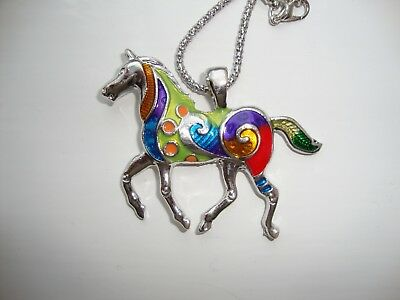 Prince Fluffy Kareem Hand Painted Horse Pendant On Chain - Pfk Charity