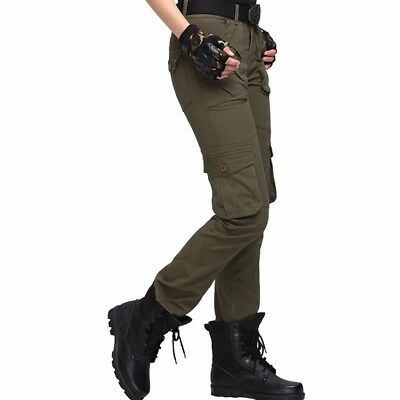 Lady Army Cargo Pants Camo Military Tactical Trousers Long Slim Pockets Outdoor