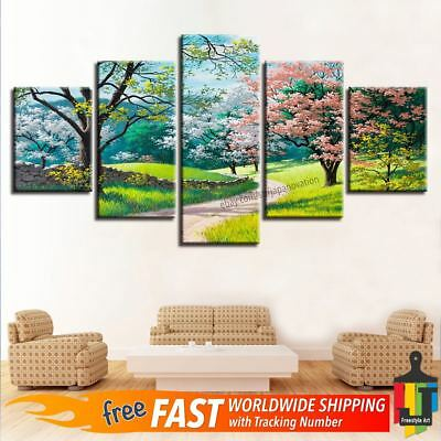 5 Pieces Vintage Green Tree Flower Grass Path Nature Canvas Wall Art Home Decor