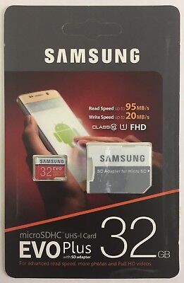 Samsung 32GB Micro SD Card SDHC EVO+ 95MB/s  WRITE SPEED 20MB/S 32GB MEMORY CARD