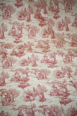 Vintage French LONG WIDE TOILE DE JOUY pannel 190 x 110 in c1960