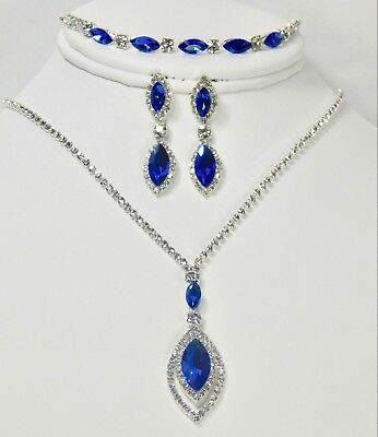 3Pcs Blue W Silver Crystal Rhinestone Dangle Drop Necklace Earrings Bracelet Set